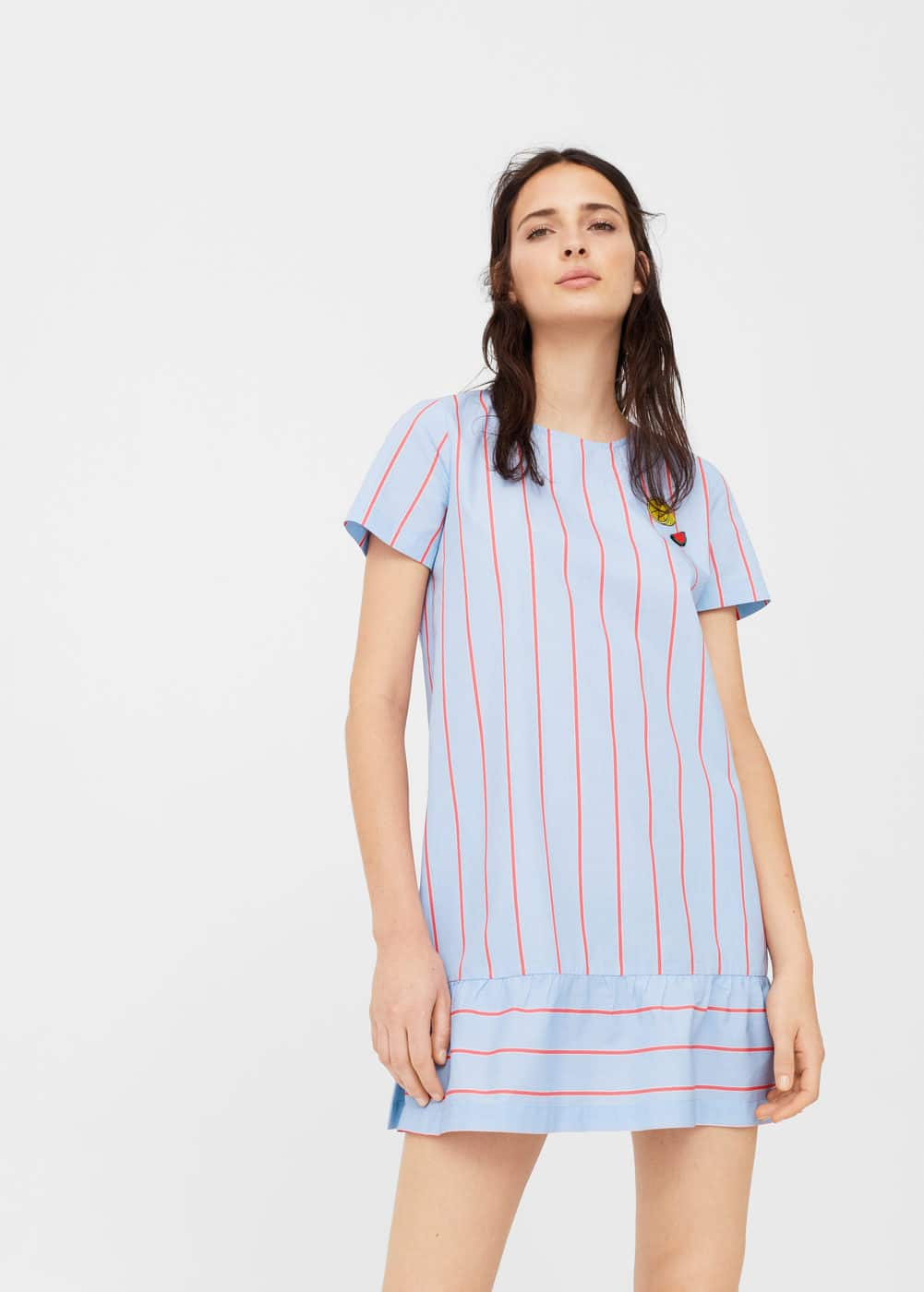 Patchs stripes dress | MANGO