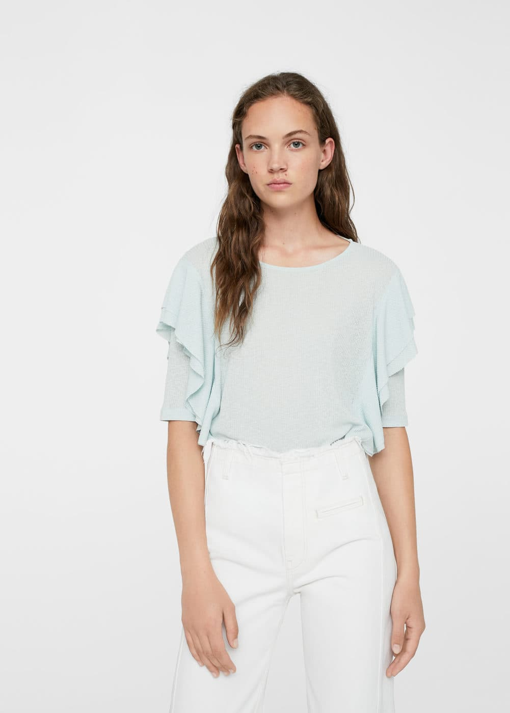 Ruffled ribbed t-shirt | MANGO