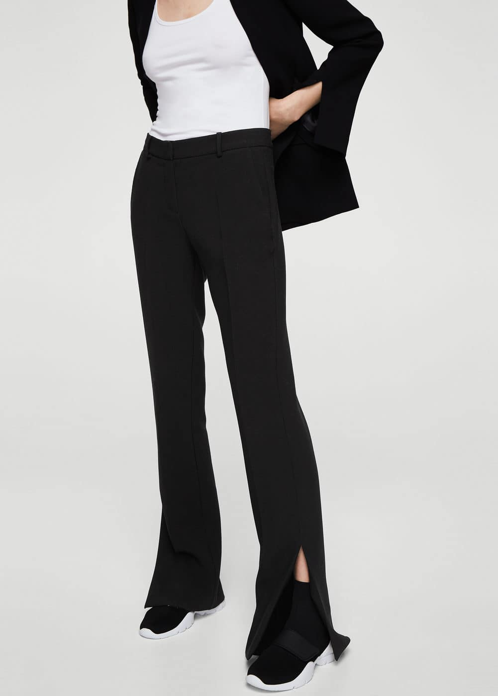 Side slit flowy trousers | MANGO