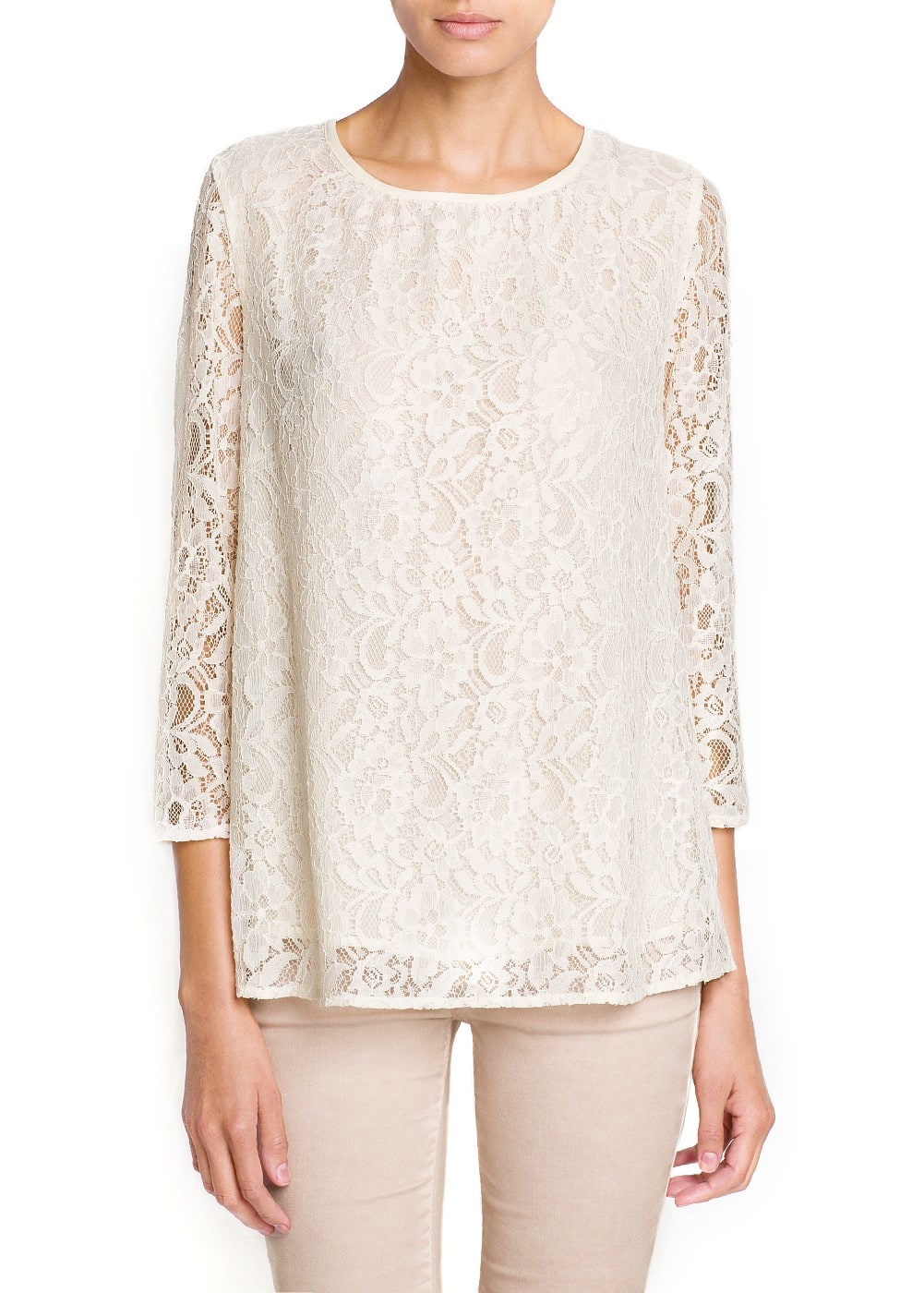Loose-fit lace blouse | MANGO
