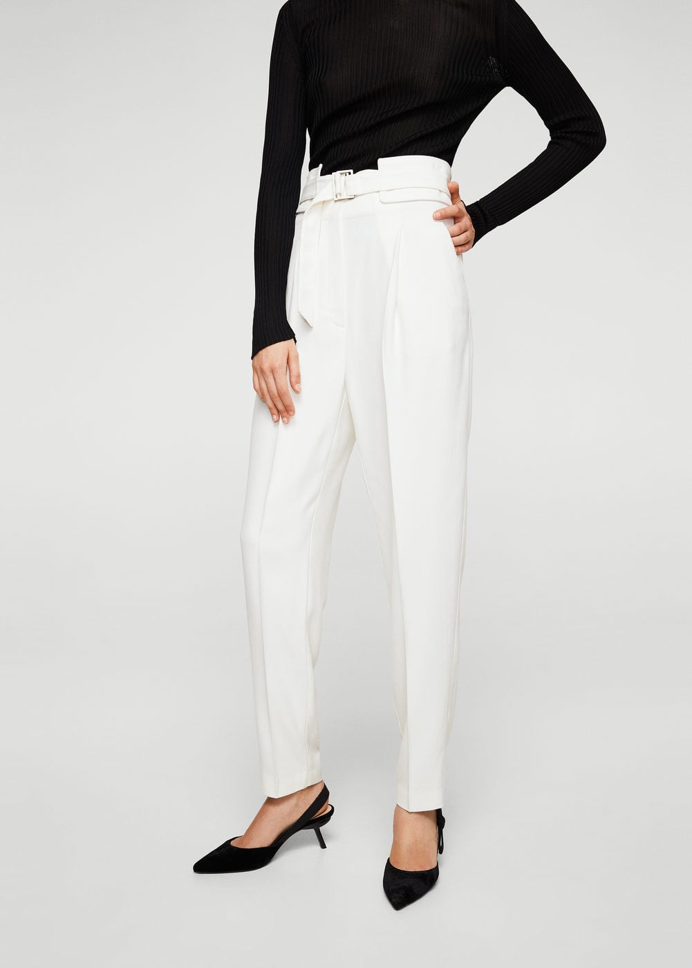 Belt wool trousers | MANGO