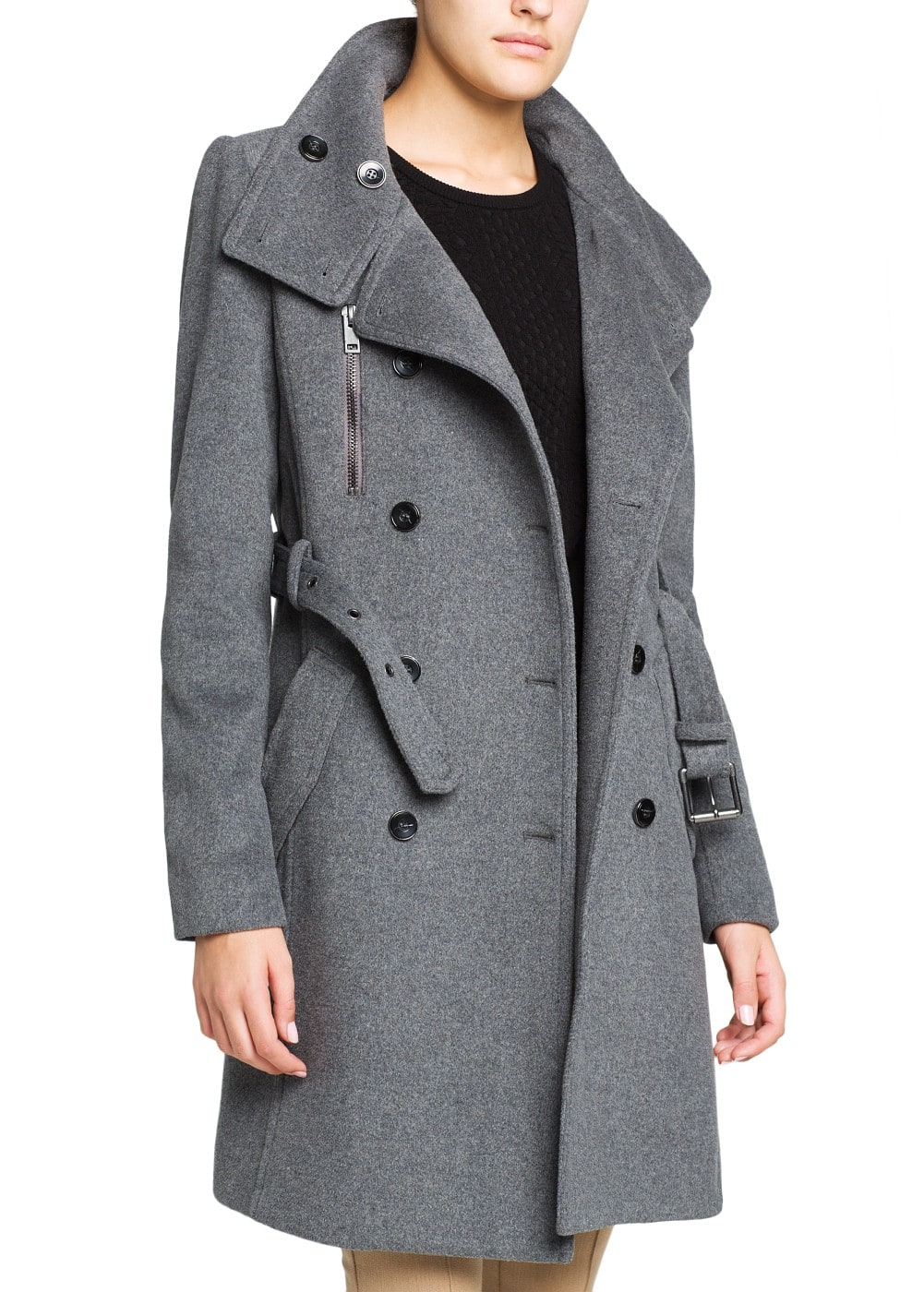 Military style wool-blend trench coat | MANGO