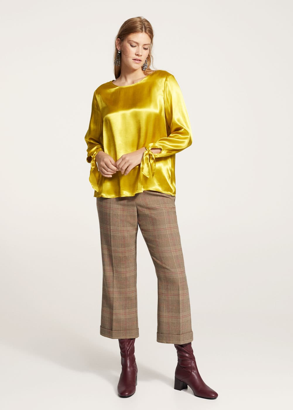 Bows satin blouse | VIOLETA BY MANGO