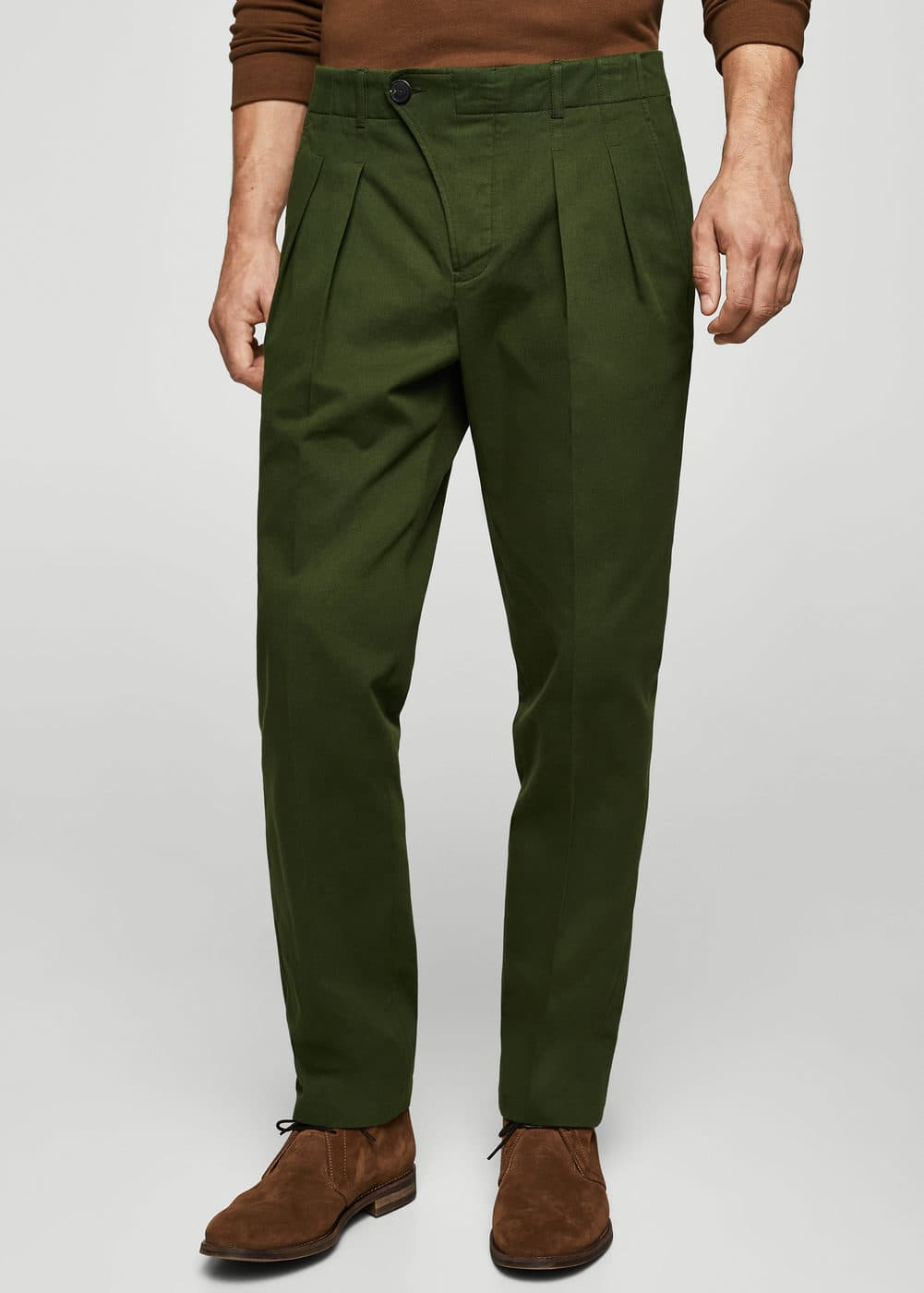 Pleated cotton chinos | MANGO