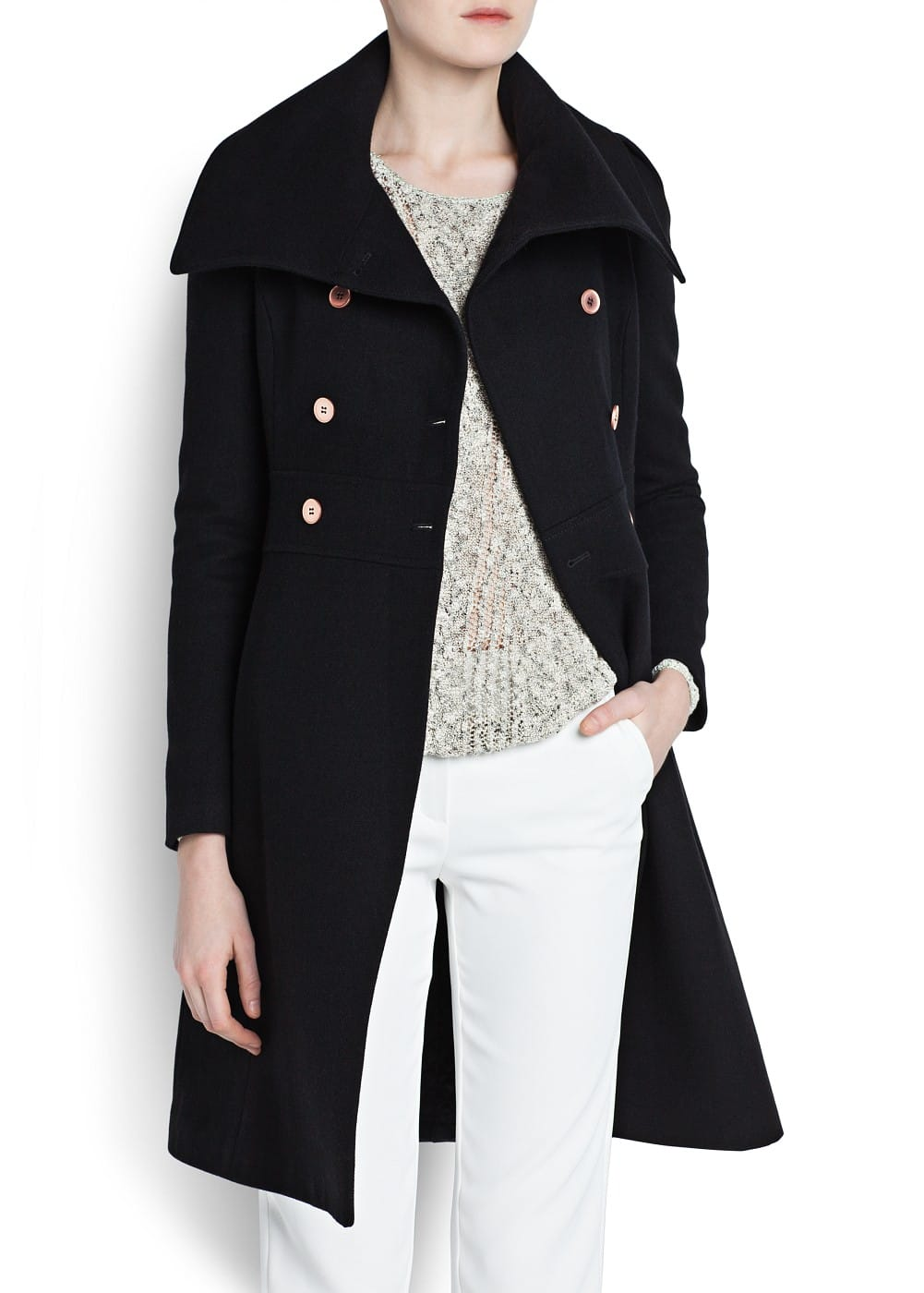 Wool-blend double-breasted coat | MANGO