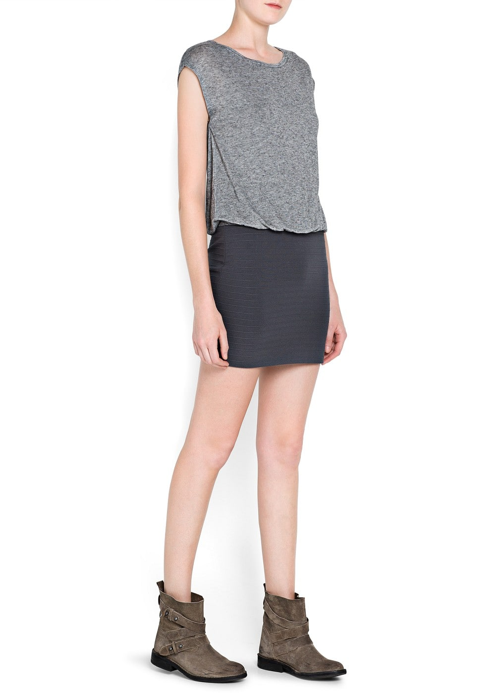 Textured skirt combi dress | MANGO