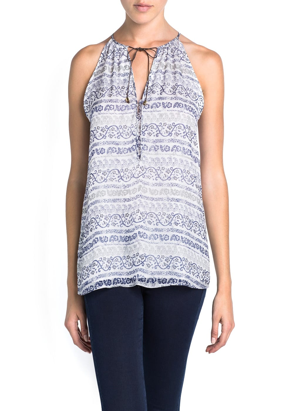 Silk printed top | MANGO