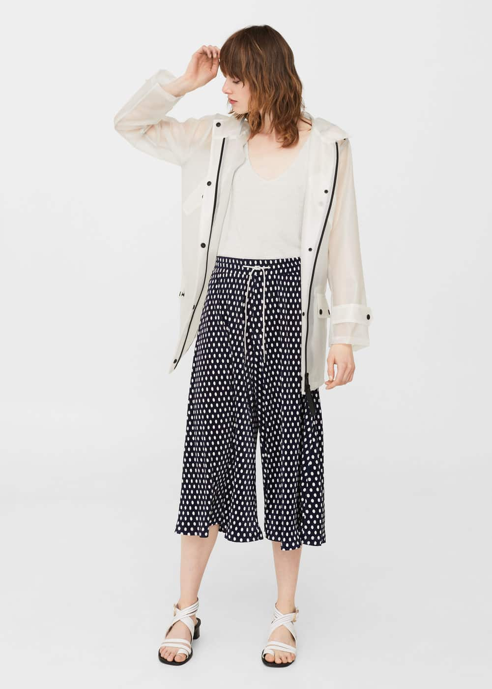 Pleated cropped trousers | MANGO