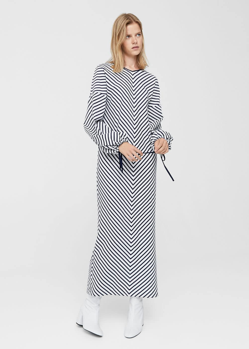 Puffed sleeves striped dress | MANGO