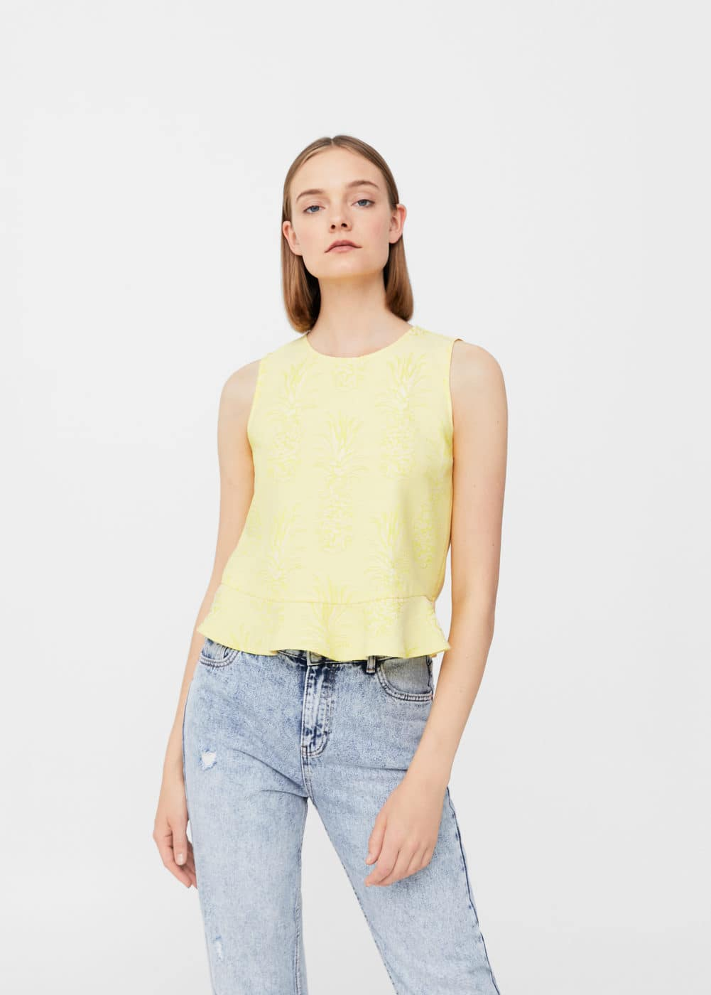 Textured crop top | MANGO