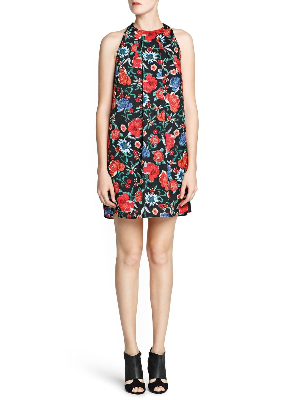 Satin-finish floral print dress | MANGO