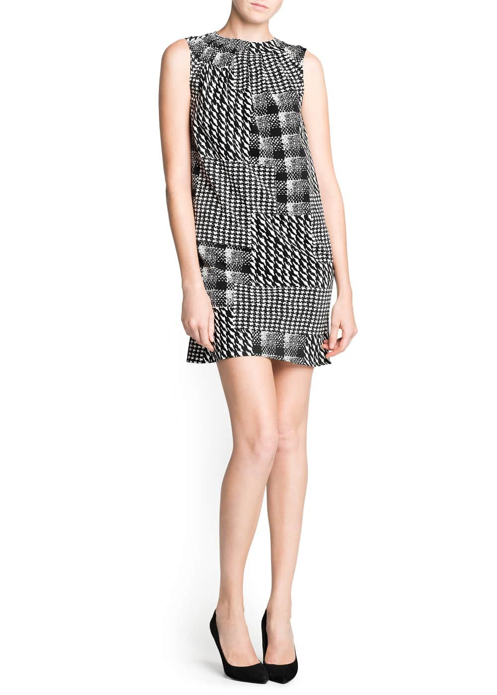 Houndstooth print pleated dress | MANGO