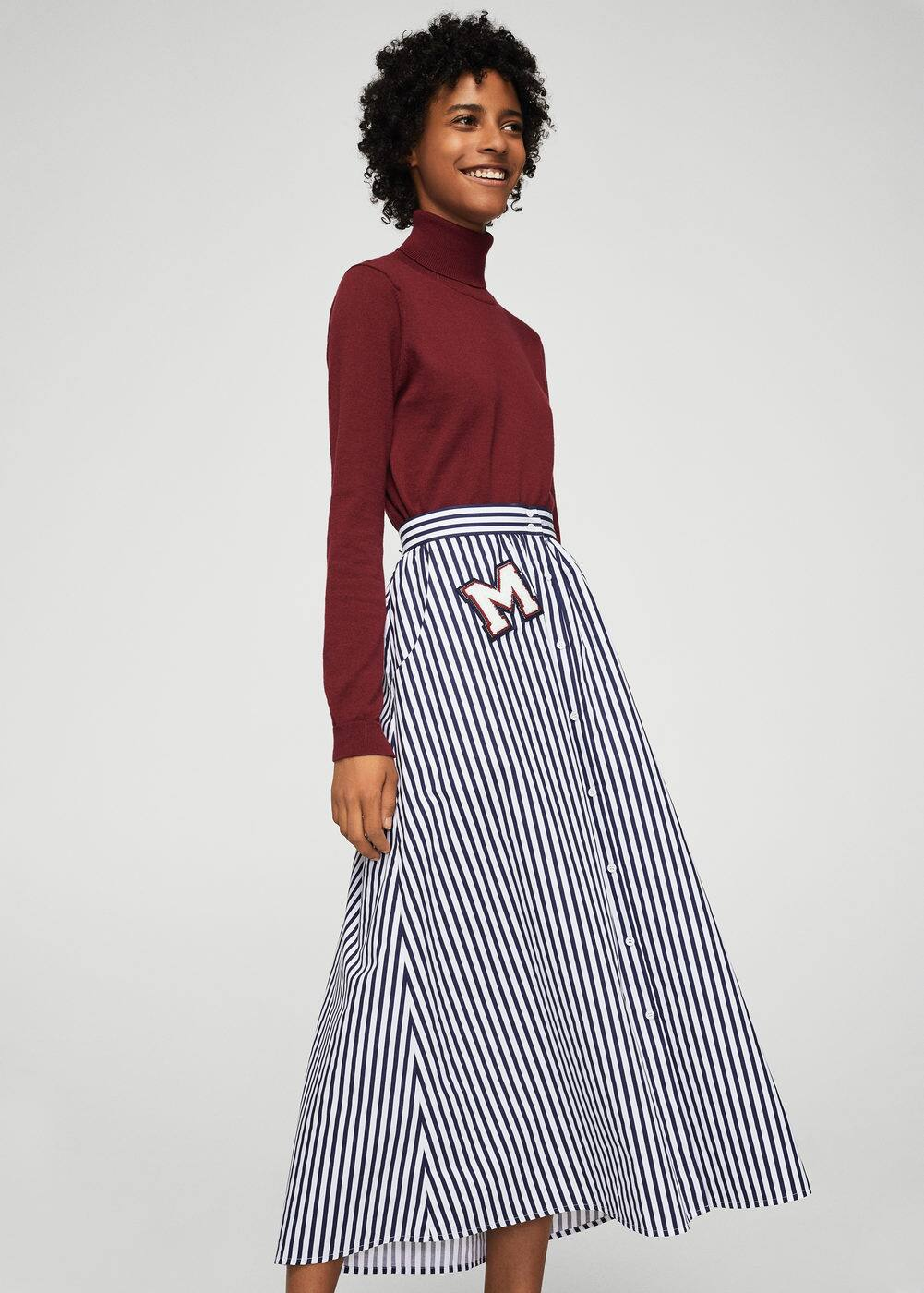 Patch striped skirt | MANGO