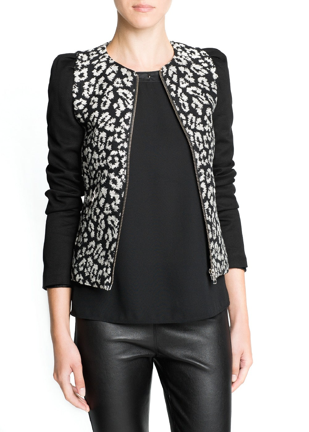 Leopard cotton-blend jacket | MANGO