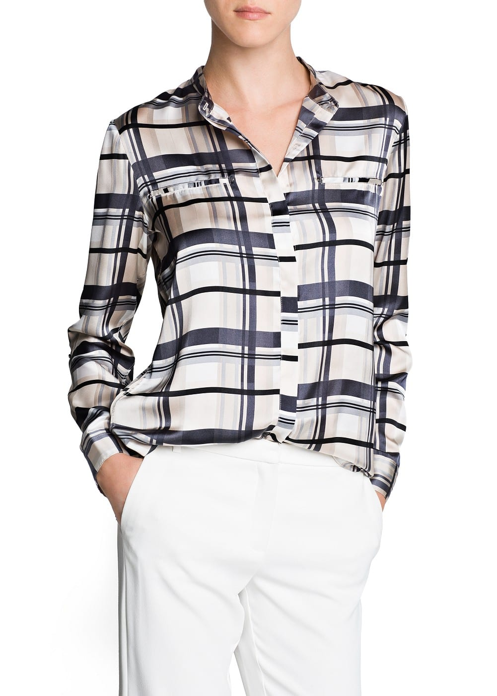 Satin finish check shirt | MANGO