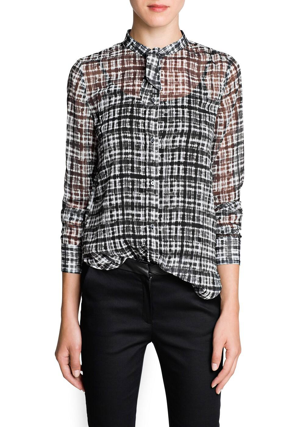 Irregular check chiffon blouse | MANGO