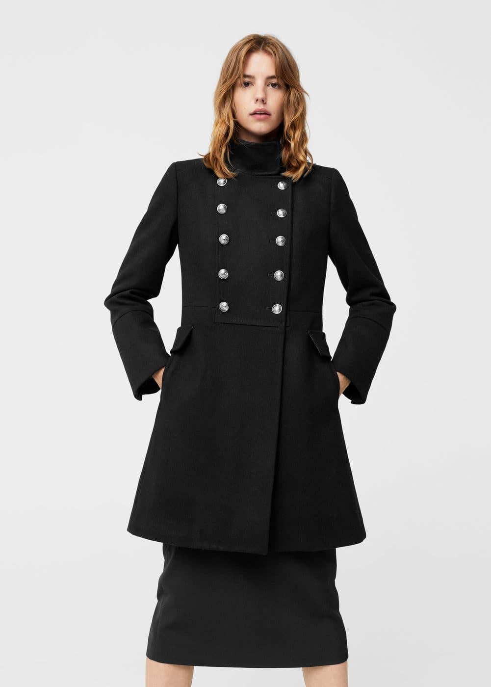 Double-breasted wool coat - Woman | MANGO Lithuania