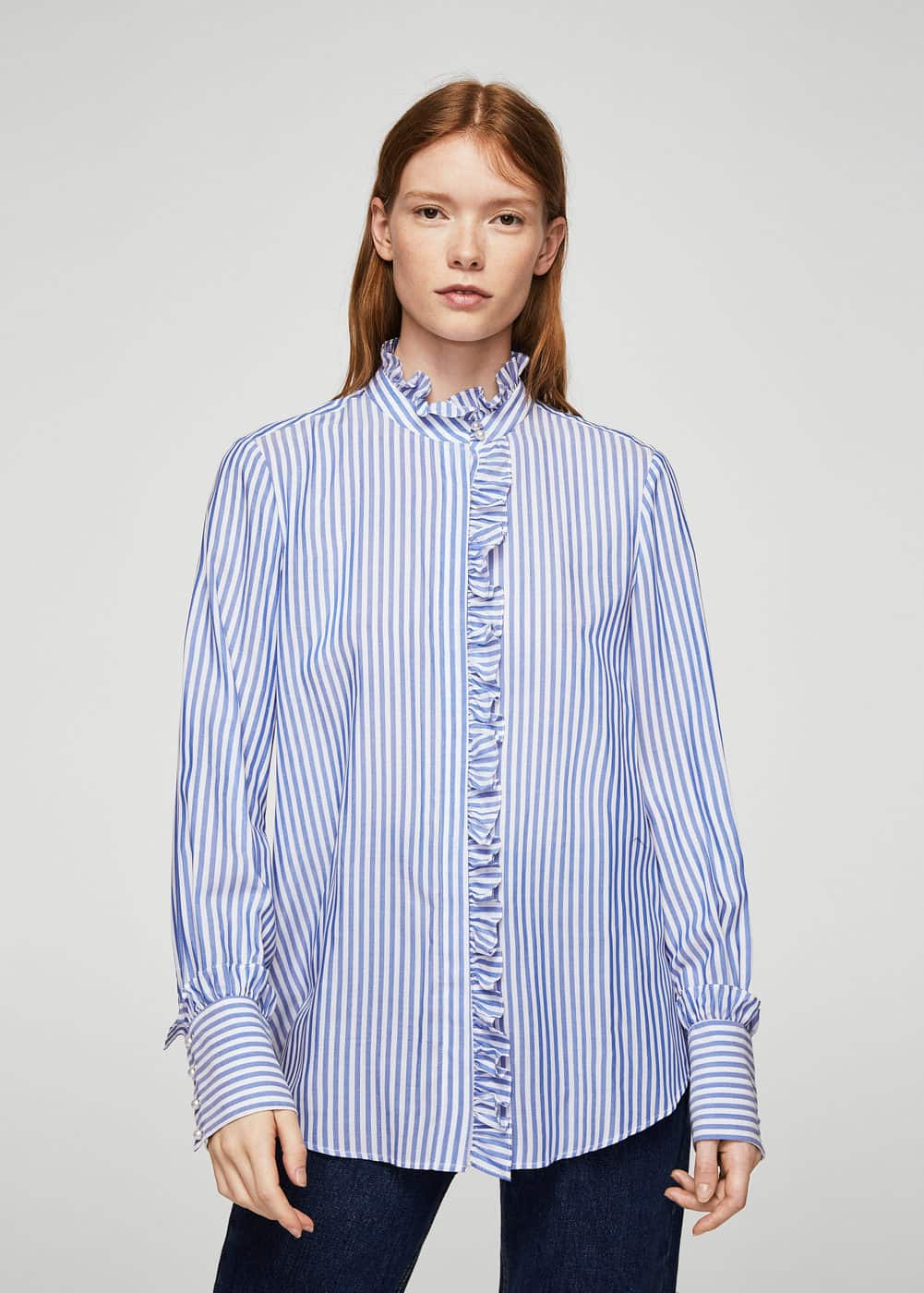Striped mao collar shirt | MANGO