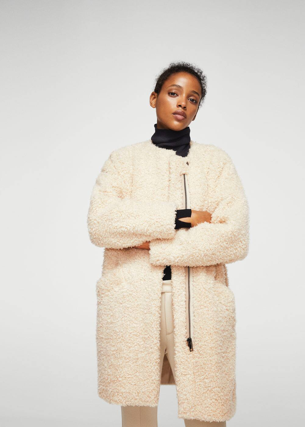 Faux shearling coat | MANGO