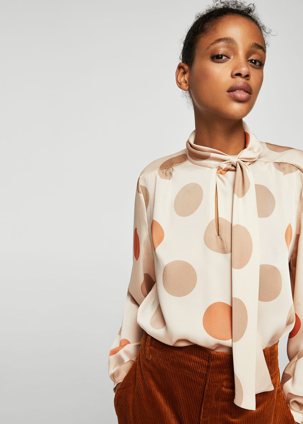 Bow polka-dot blouse | MANGO