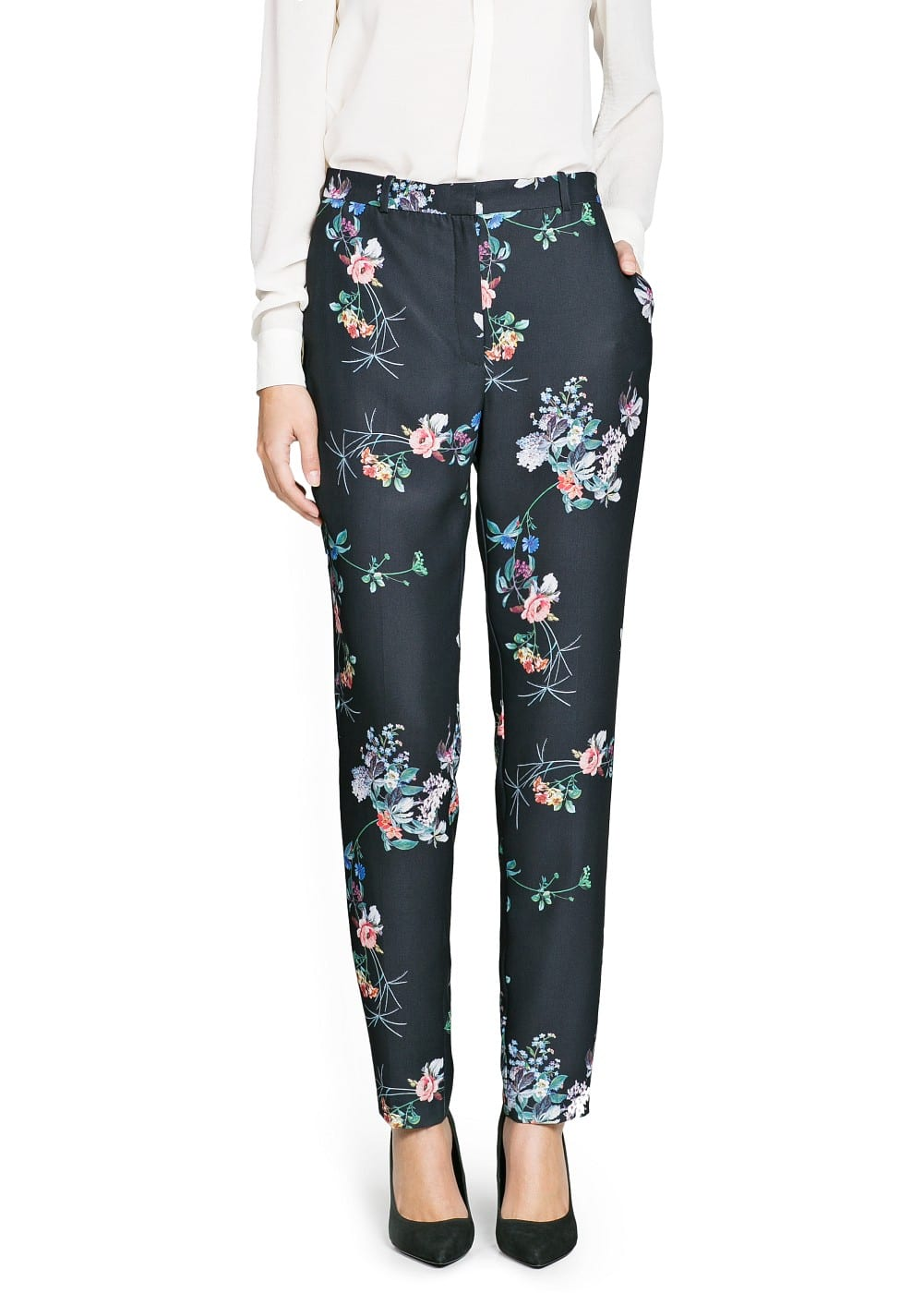Belted floral print trousers | MANGO