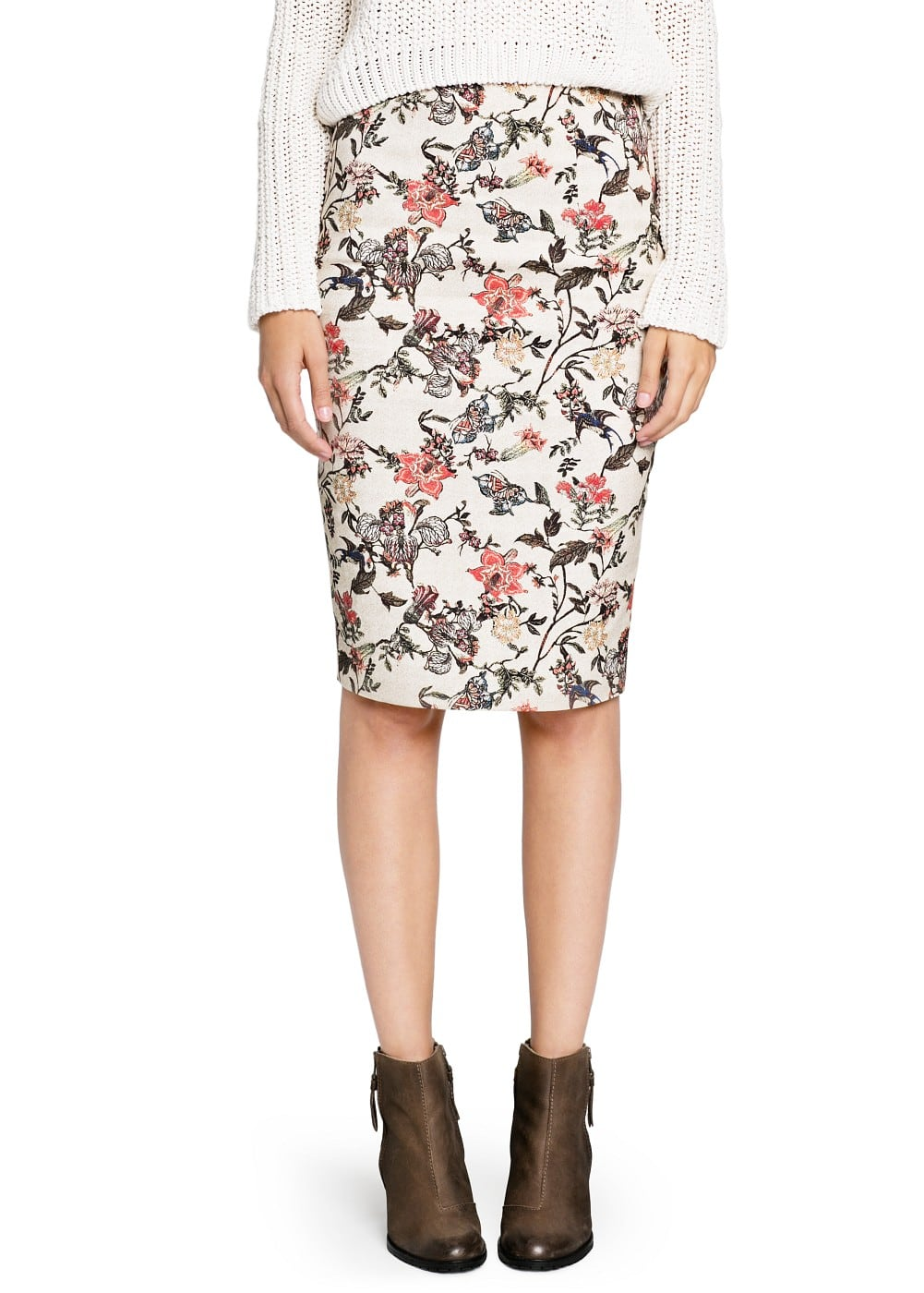Floral print pencil skirt | MANGO