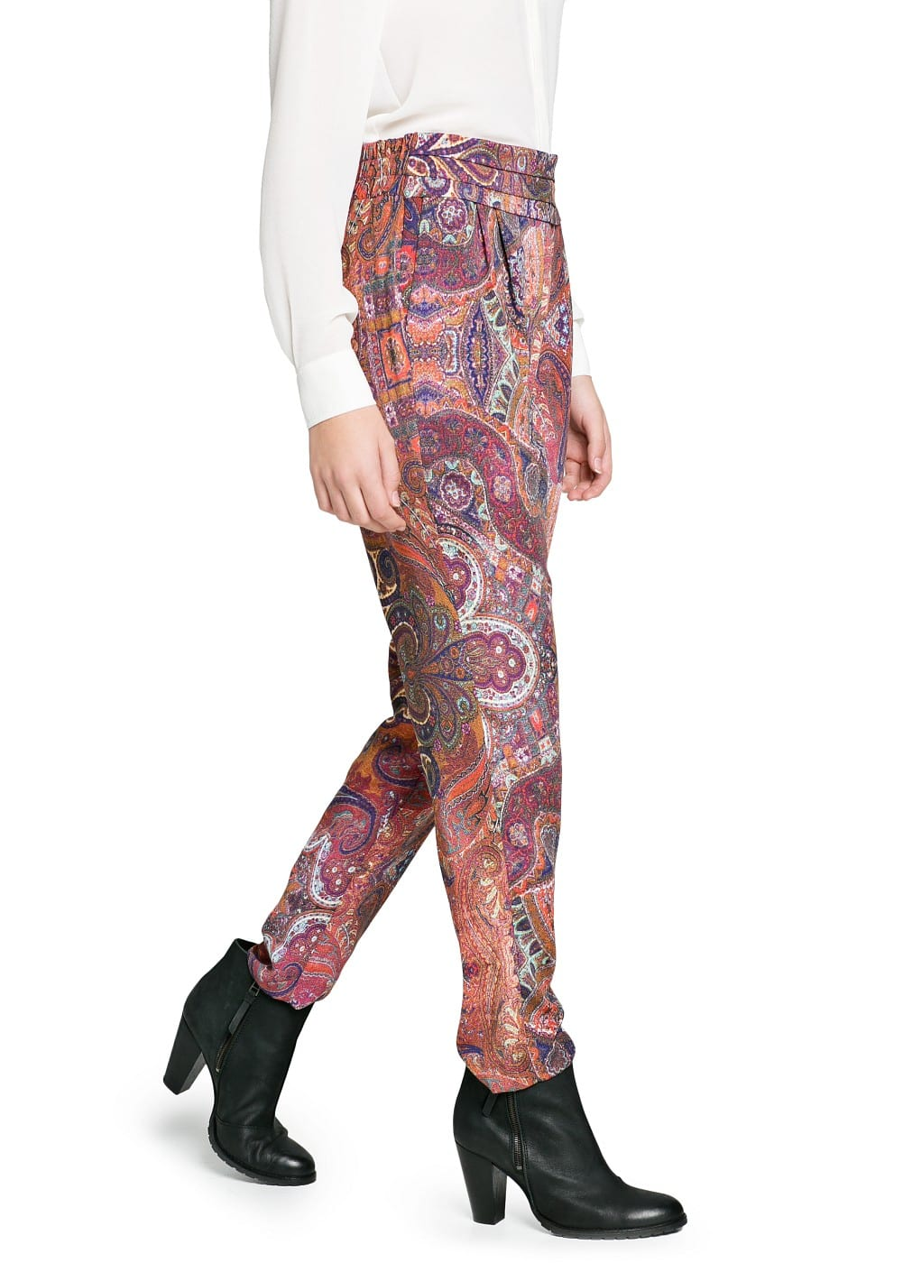 Scarf print baggy trousers | MANGO