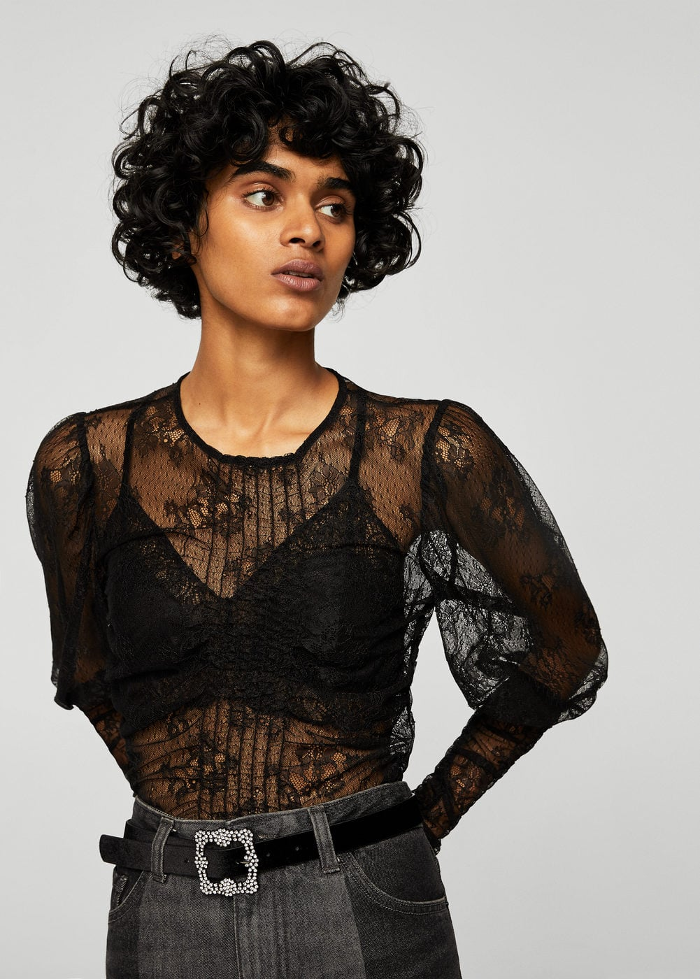 Embroidered lace t-shirt | MANGO