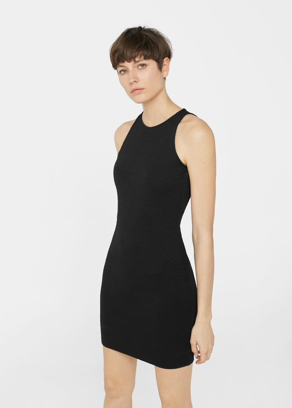Fitted textured dress | MANGO