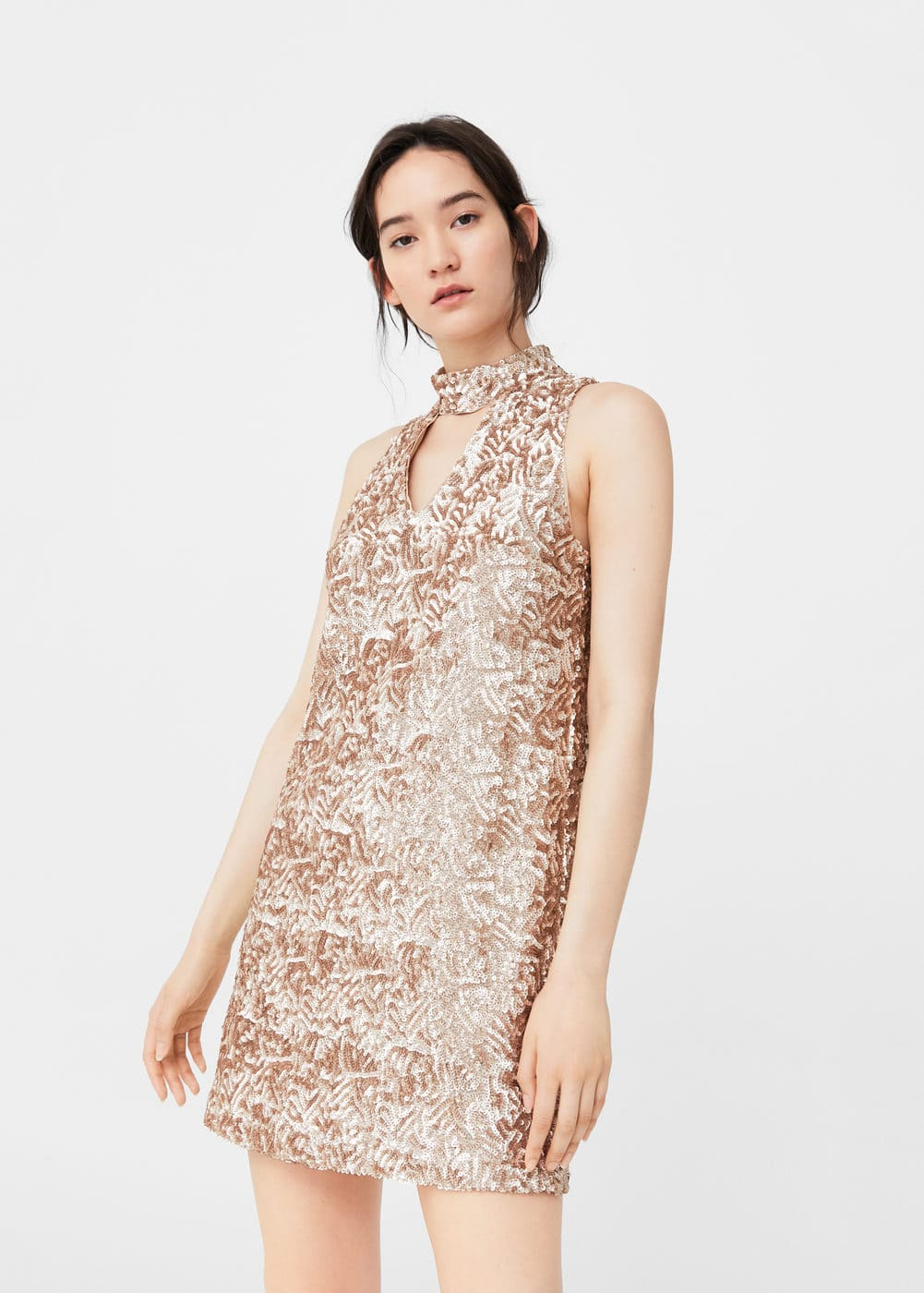 Sequined halter neck dress | MANGO