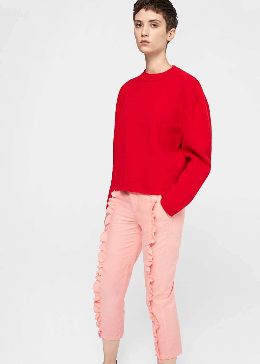 Ruffled trims trousers | MANGO