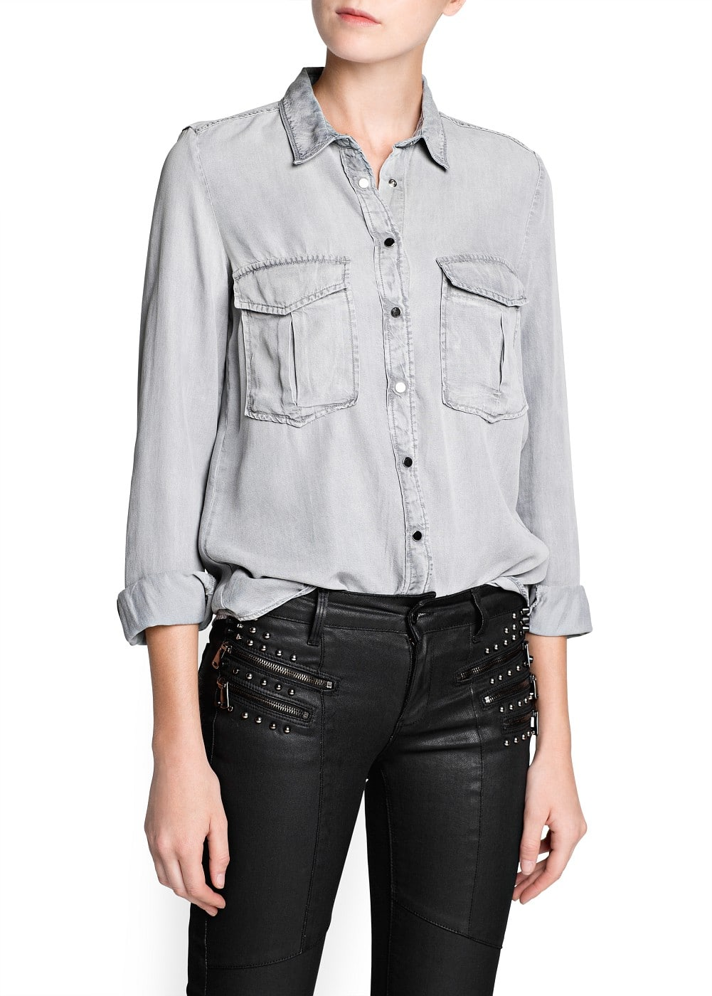 Grey wash  shirt | MANGO