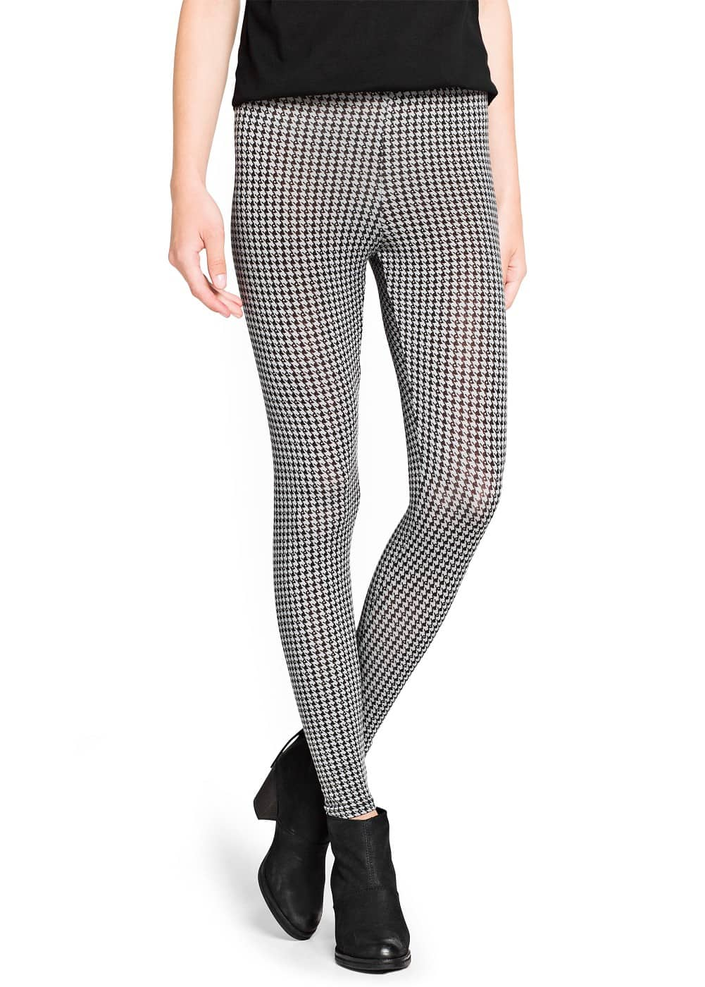 Houndstooth print leggings | MANGO