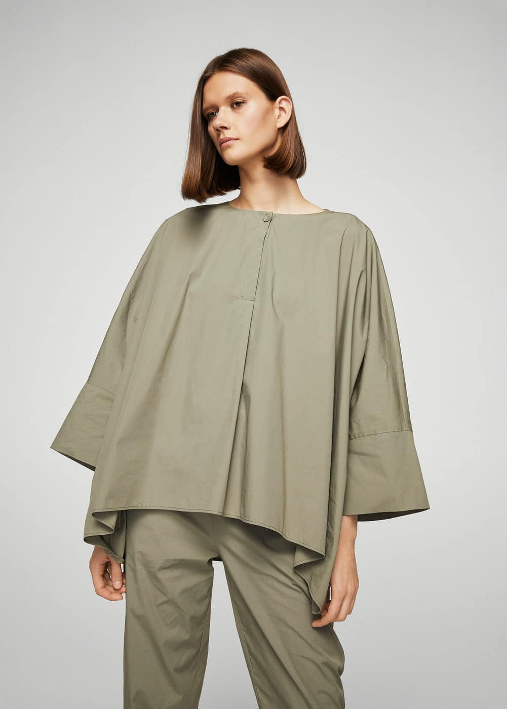 Oversize cotton blouse | MANGO