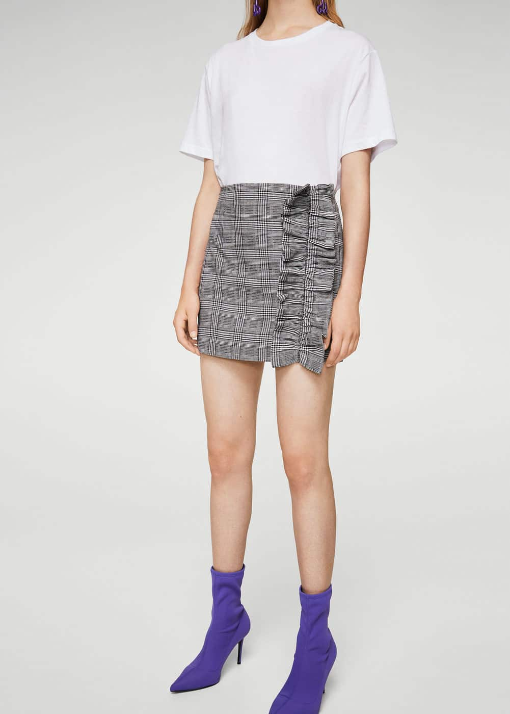 Check pattern ruffled skirt | MANGO