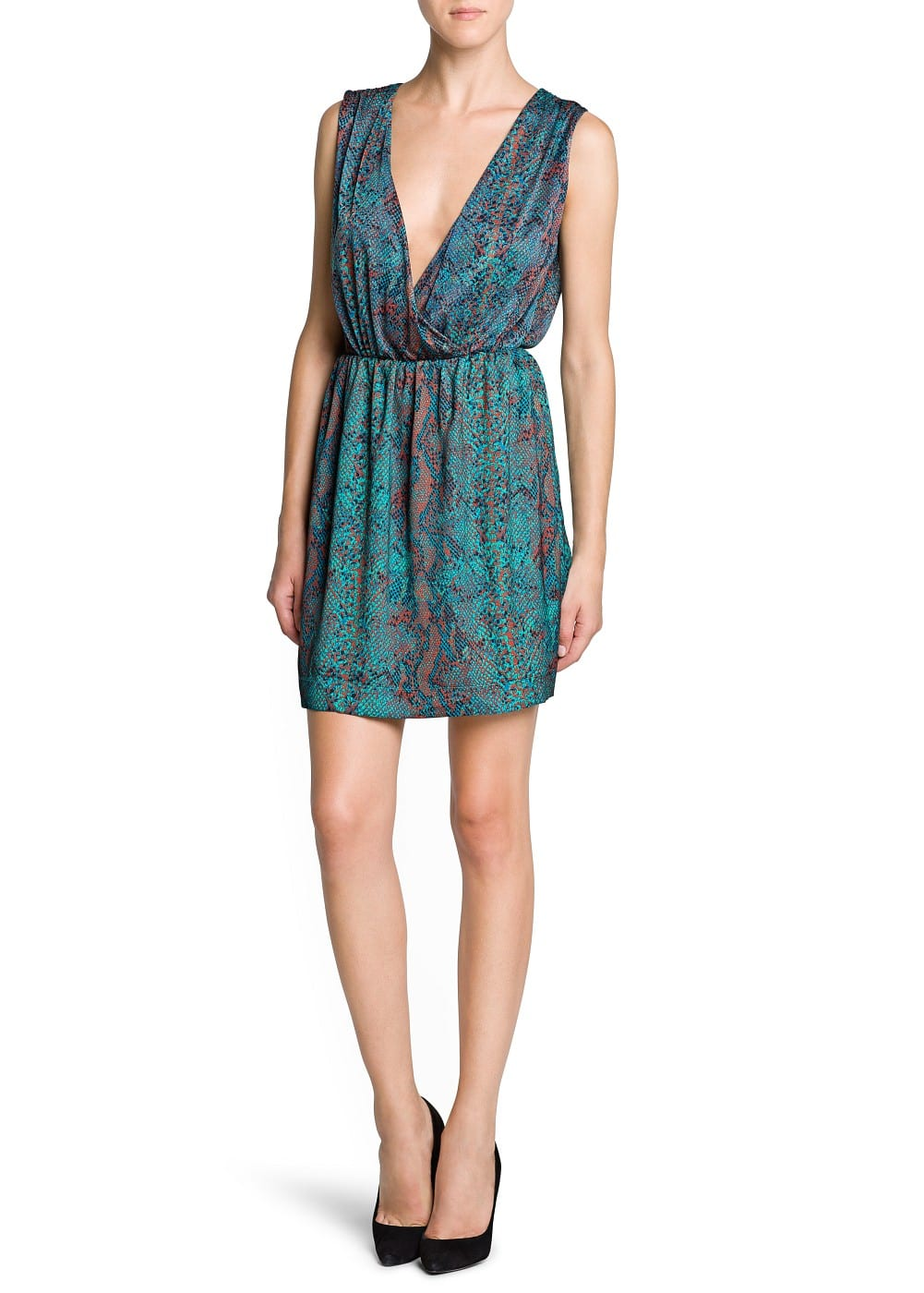 Snakeskin print wrap dress | MANGO