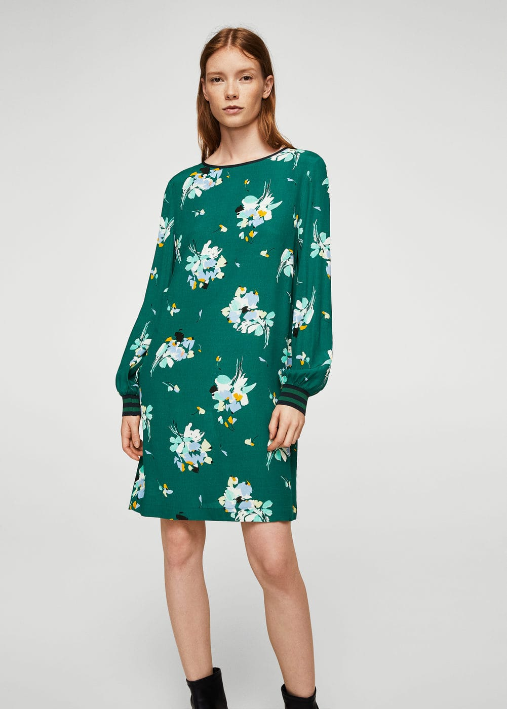 Trim floral dress | MANGO