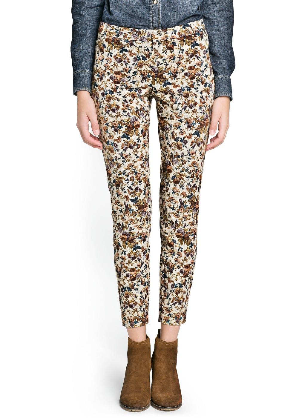 Tapestry floral print trousers | MANGO