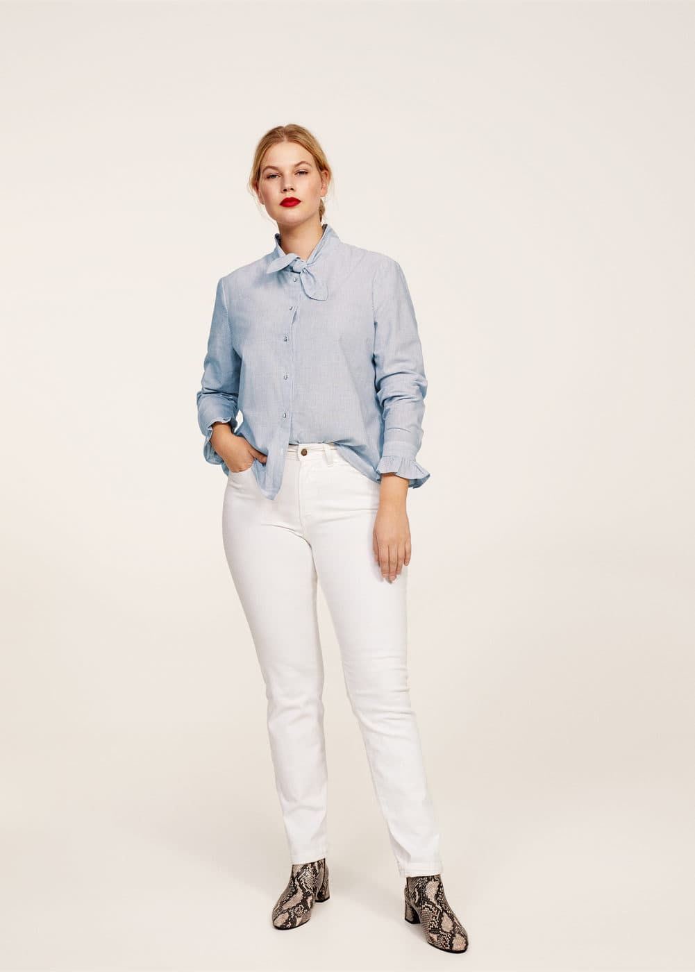 Bow fine-stripe blouse | VIOLETA BY MANGO