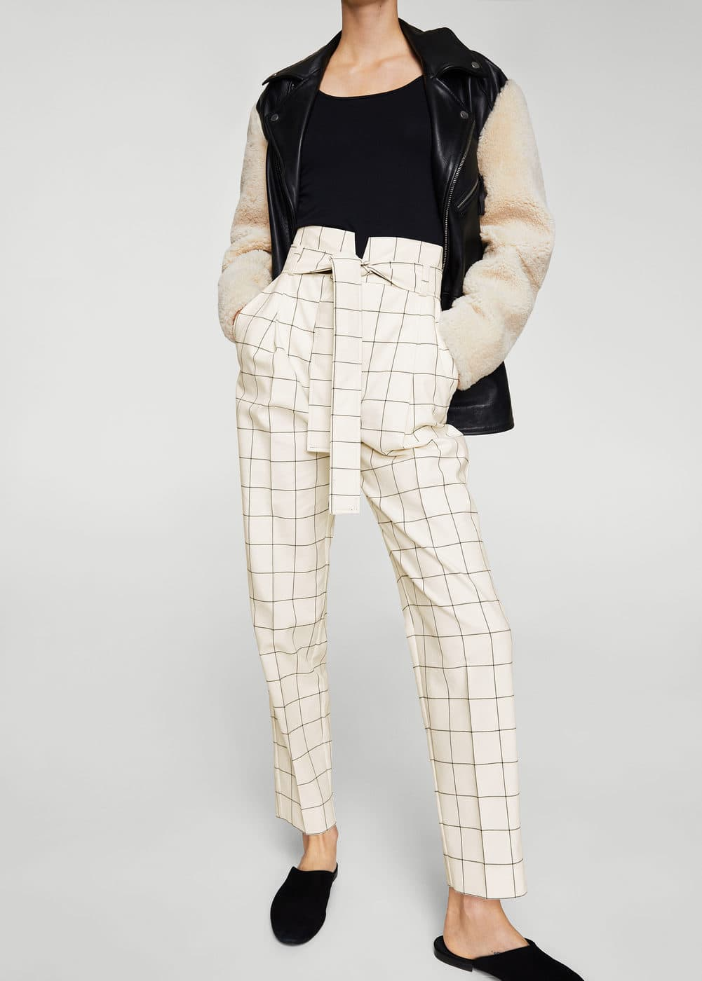 Belt check trousers | MANGO