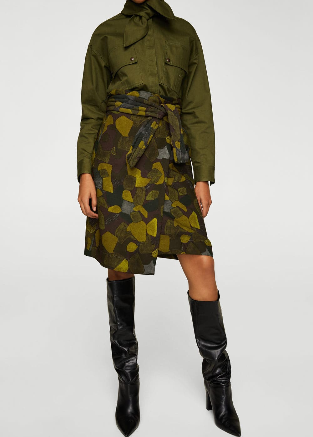 Belt camo skirt | MANGO
