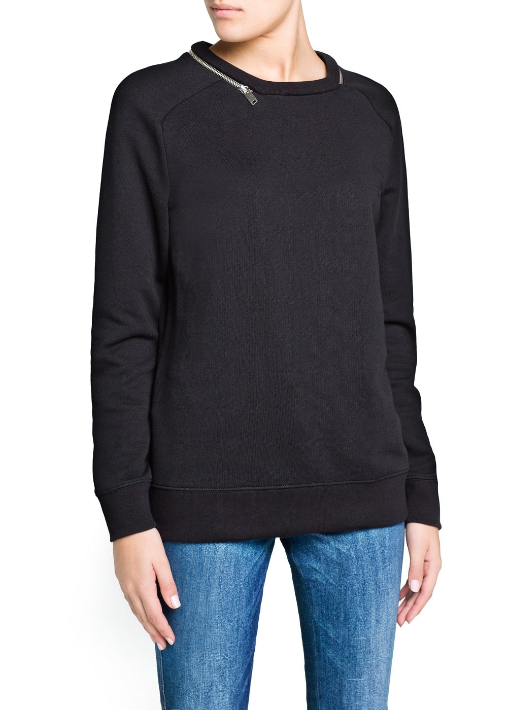Zip cotton sweatshirt | MANGO