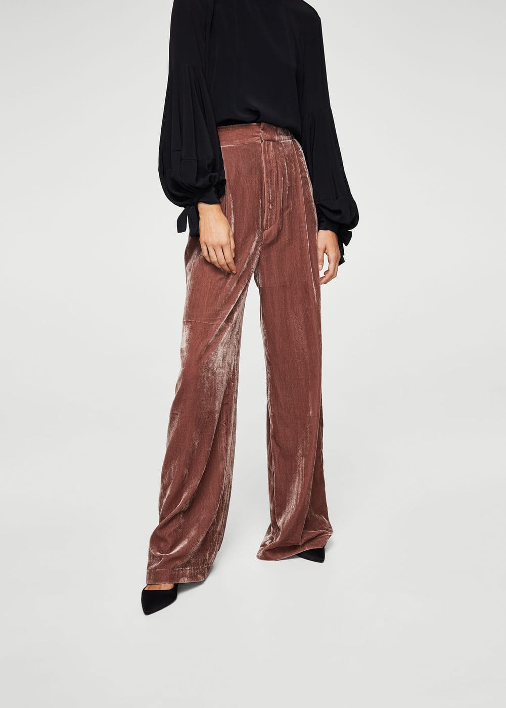 Flared velvet trousers | MANGO