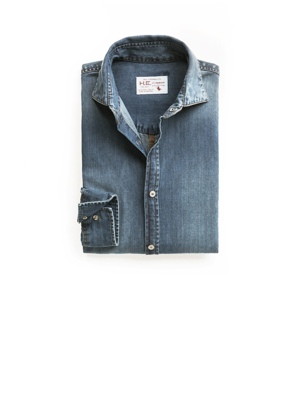 Slim-fit medium denim shirt | MANGO MAN
