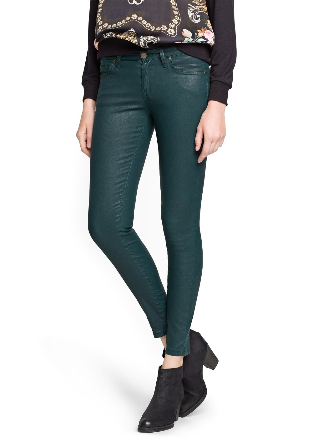 Super slim-fit coated green jeans | MANGO