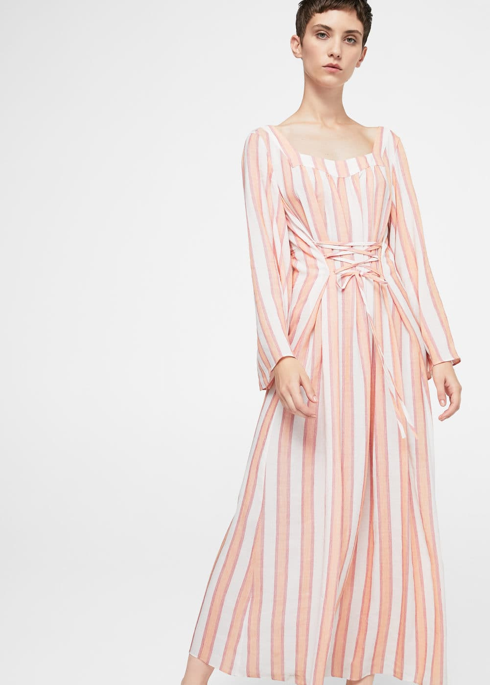 Striped linen dress | MANGO