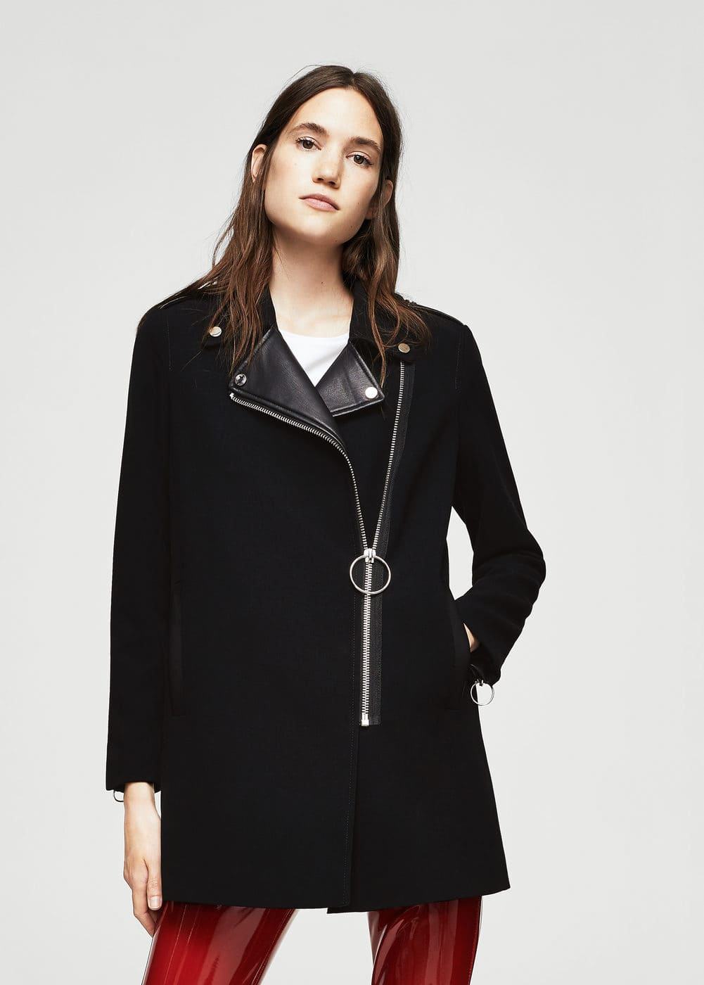 Manteau revers contrastants | MANGO