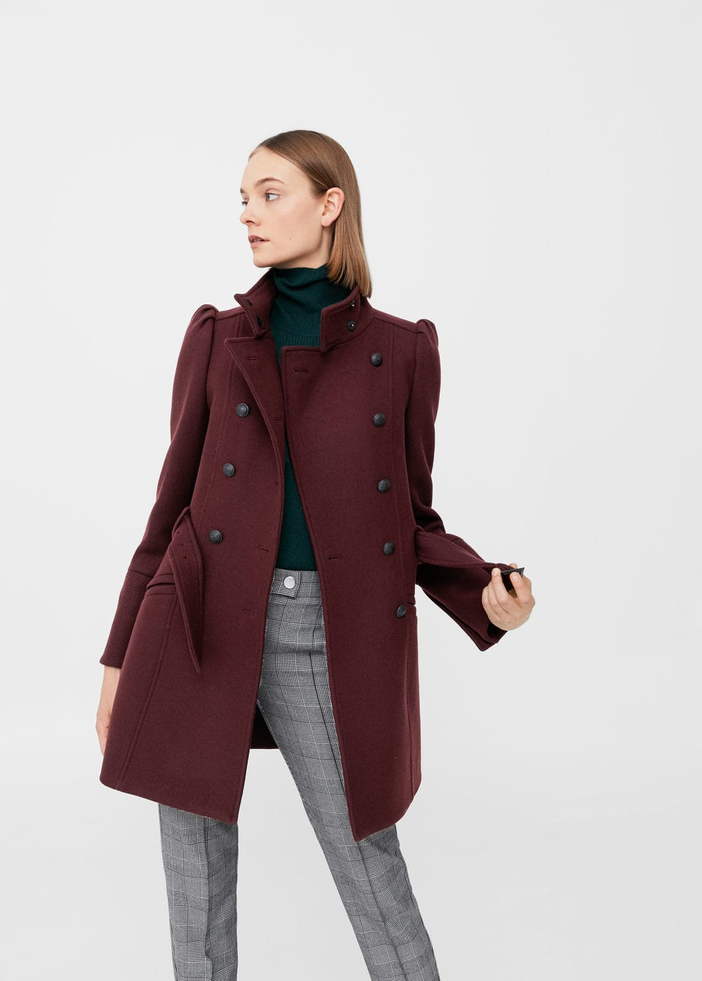 Puffed-shoulder wool coat | MANGO