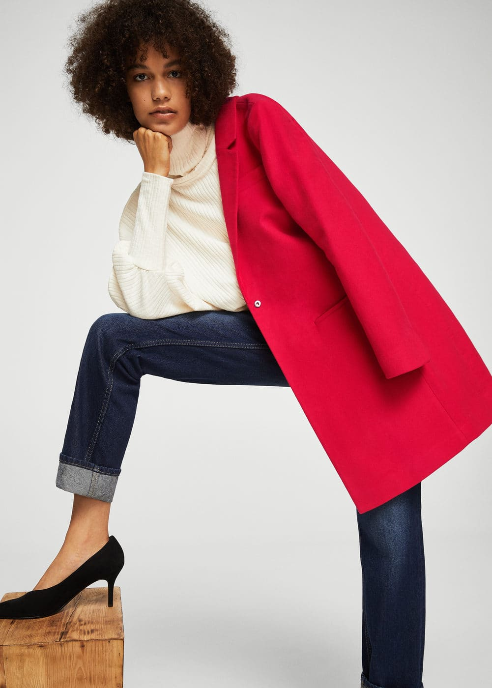 Lapels structured coat | MANGO