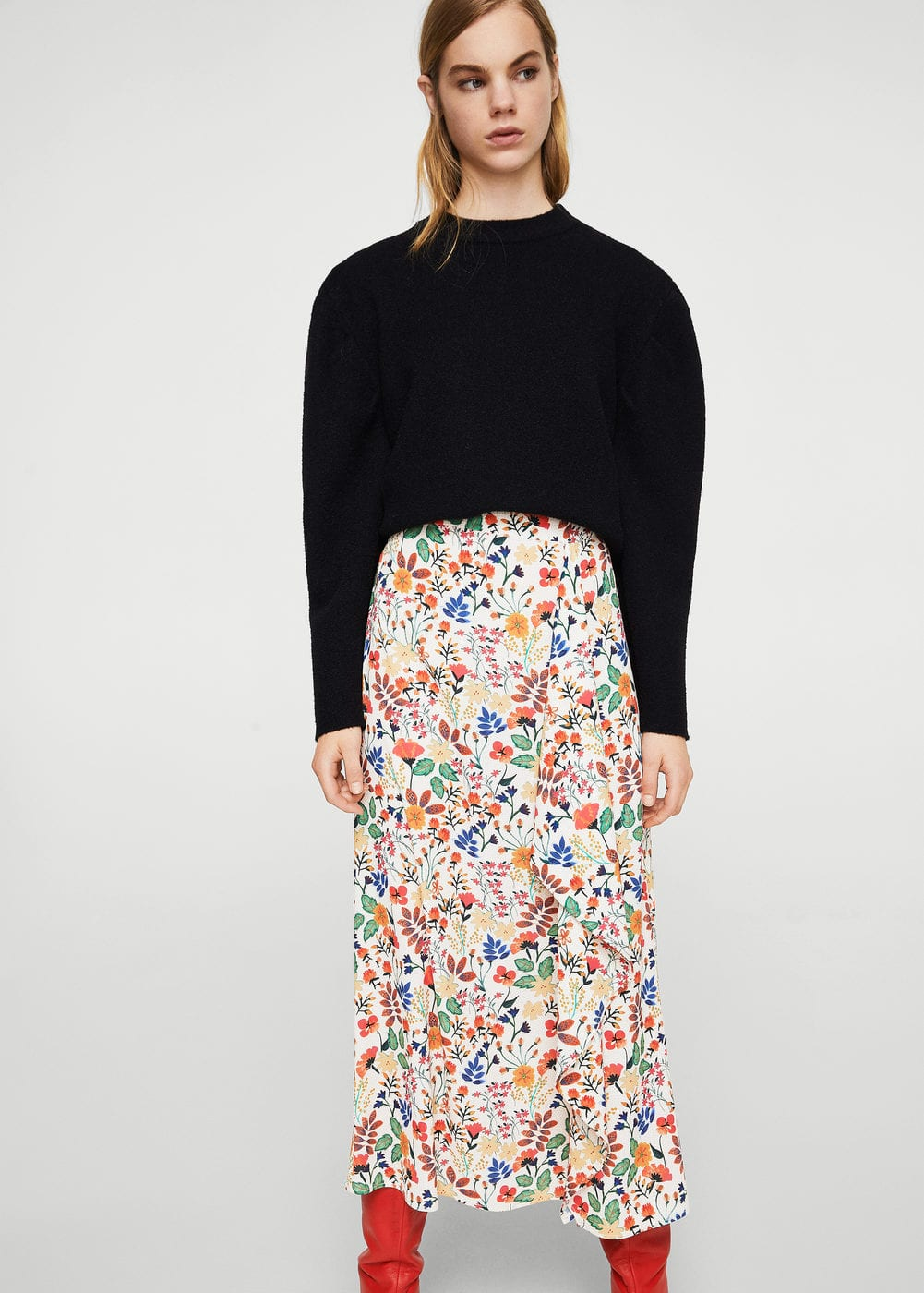 Floral wrapped skirt | MANGO